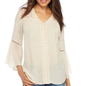 New Directions Linen Top with 3/4 Bell Sleeves